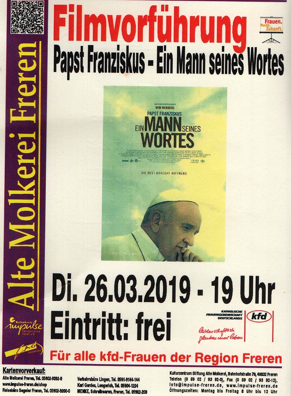 """Filmvorführung """"Papst Franziskus - Ein Mann seines Wortes"""" @ Alte Molkerei Freren"""